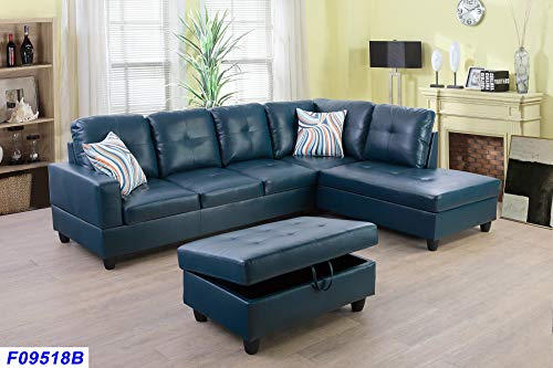 - Beverly Fine Funiture SHPO9518B-3PC Sectional Sofa Set, Turquoise