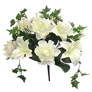 Ivory Cream Gardenia Tiger Lily Ivy Bouquet Silk Wedding Flowers Centerpieces