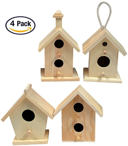 Creative Hobbies Mini 4 Inch Tall Birdhouse, Set of 4 Styles, Unfinished Wood Ready to Paint or Decorate (Bird Unfinished Wood)