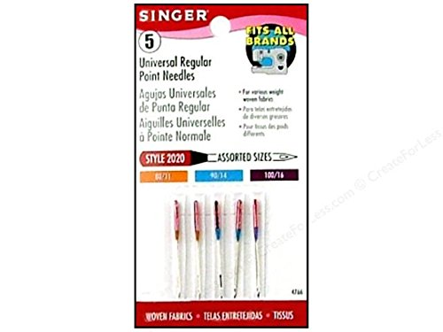 Price comparison product image Singer 4766 Universal Regular Point Sewing Machine Needles Assorted
