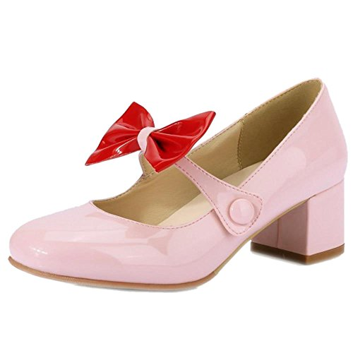 Pink Shoes Girl Sweet Pumps Fashion Bow Jean Women Mary Simple KemeKiss School w7HPqn