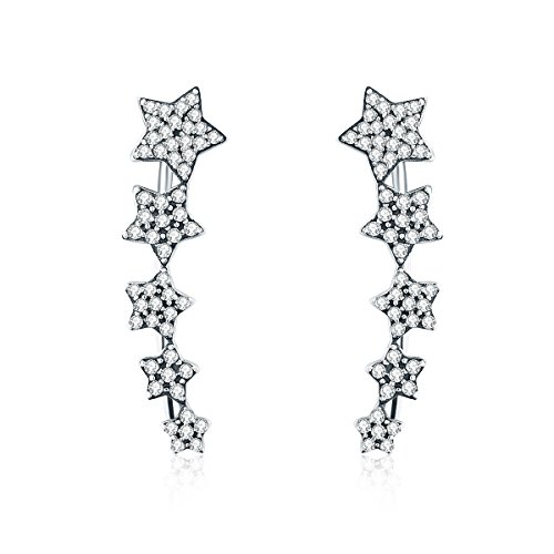 Star Climber Earrings Ear Crawler Earrings Sterling Silver CZ Ear Cuff Pin Vine Wrap Stud Earrings WOSTU