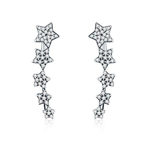 (Star Climber Earrings Ear Crawler Earrings Sterling Silver CZ Ear Cuff Pin Vine Wrap Stud Earrings WOSTU)