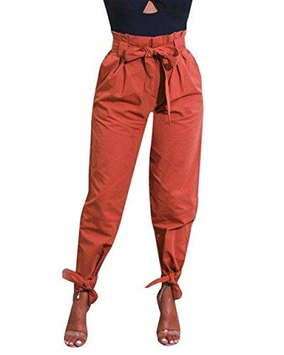 Tempo Pantaloni Autunno Libero Mode marca Monocromo Pantaloni Arancia High Harem Tendenza Fashion Donna Pantaloni Inclusa di Eleganti Waist Baggy Primaverile Cintura Trousers BOLAWOO TPUF5nxqq