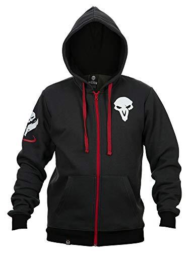 JINX Overwatch Ultimate Reaper Zip-Up Hoodie, Dark Grey/Red, XX-Large -