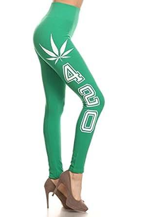 Womens Ladies Woorkout Weed Marijuana 420 Leggings Pants SML528SP (One Size, Green/White)