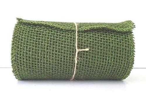 Olive Green Burlap Ribbon Roll - 5.5