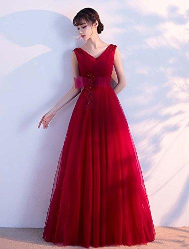 Beauté Emily Longue Tulle Bowknot Simples Robes De Soirée De Demoiselle D'honneur Sans Manches Violet Foncé