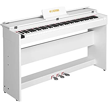 LAGRIMA Digital Piano, 88 Key Electric Keyboard Piano for Beginner W/Music  Stand+Power Adapter+3-Pedal Board+Instruction Book+Headphone Jack(White