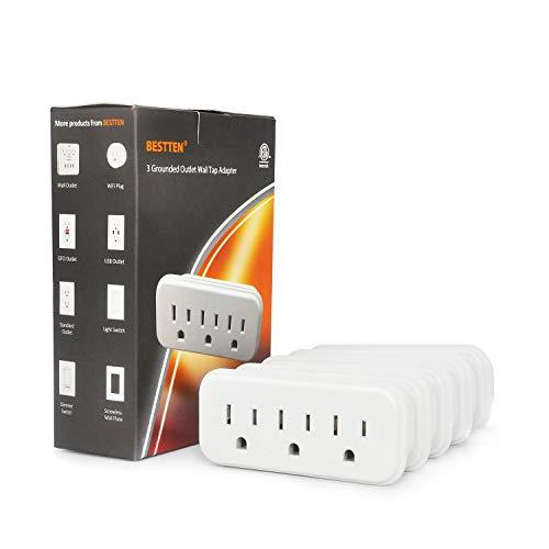 [5 Pack] BESTTEN 3 Outlet Wall Adapter, 15A/125V/1875W, Mini Grounded Plug Splitter, ETL Listed, White