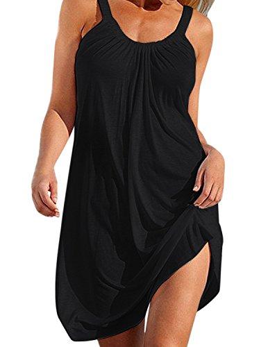Lache A Ete Ligne Femme Bikini Robe Maillots Plage de Rond Taille Noir BienBien Bain sans Robe de Grande Up Cover Col Manches qAfO77P