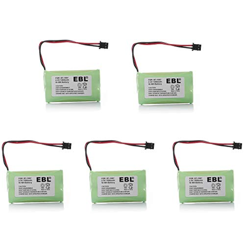 EBL BT1007 BT1015 Cordless Phone Rechargeable Battery for Uniden BT1007 BT1015 BT904 BP904 Uniden BBTY0651101 BBTY0707001 DECT1480 DECT1560 DECT1580, 5 Packs ()