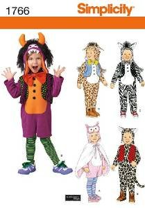 SIMPLICITY 1766 A TODDLERS' COSTUMES & HATS (SIZE 1/2 -4) SEWING (Simplicity Halloween Patterns For Toddlers)