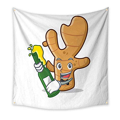 - Anyangeight Horizontal Tapestry with Beer Ginger Mascot Cartoon Style 39W x 39L Inch