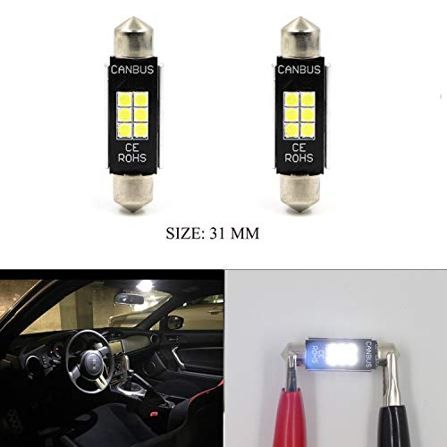 """DE3175 6428 1.25"""" 31MM Dome Light Canbus Error Free 2pcs LED Bulbs for Interior Car Lights License Plate Dome Map Door Courtesy Festoon Xenon White Extremely Bright 400 Lumens 6SMD 3020 Chipset (Chip Ram Via Set)"""