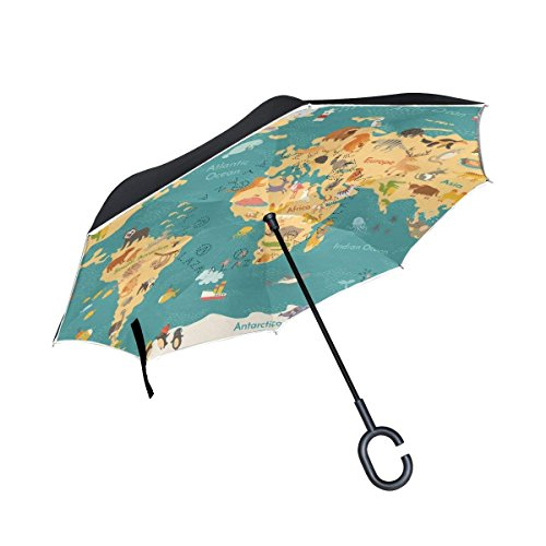 All Agree Inverted Reverse Umbrella World Map Animals Windproof For Car Rain Outdoor