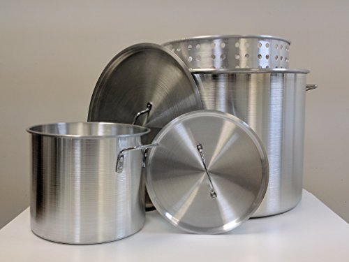 80 Quart Aluminum Crawfish Boiling Pot with Basket & Lid + 12 Quart Stock Pot with Lid - 5 piece set