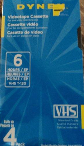 Dynex VHS Videotape Cassette 4 Pack 6 hours T-120