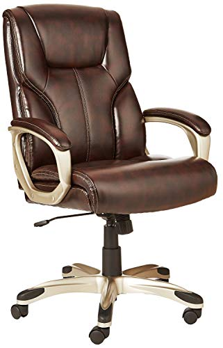 AmazonBasics High-Back Executive Swivel Chair – Brown with Pewter Finish (Renewed)