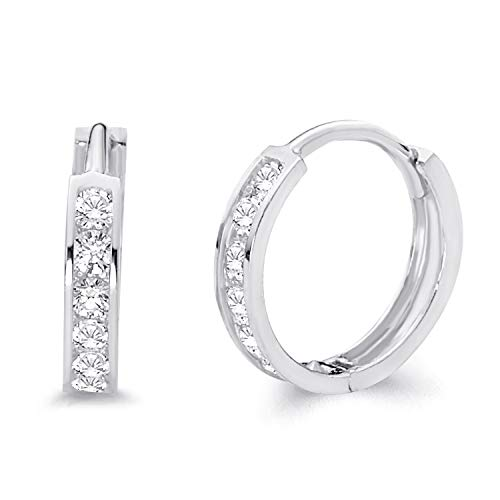 14k White Gold 2mm Thickness CZ Channel Set Hoop Huggie Earrings (12 x 12 mm)
