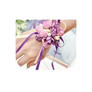 loveinfinite Wrist Flowers Pearl Silk Rose Ribbon Artificial Flower Party Wedding Decoration Bride Bridesmaid corsages Hand Flower 43