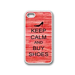Keep Calm And Buy Shoes Red Wood - Protective Designer WHITE Case - Fits Apple iPhone 4 / 4S / 4G