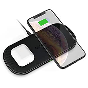 CHOETECH Dual Wireless Charger, 5 Coils Fast Wireless Charging Pad Qi Certified Compatible with iPhone XR/XS/XS Max/X/8/8 Plus, Samsung Galaxy S10/S10+/S10E/S9/S9+, Note9/8, New AirPods