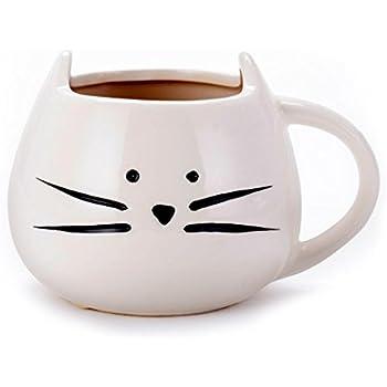 Asmwo Funny Ceramic White Cat Shaped Coffee Mug for Cat Lover Gift 12 oz