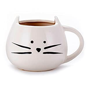 Asmwo Funny Ceramic White Cat Shaped Coffee