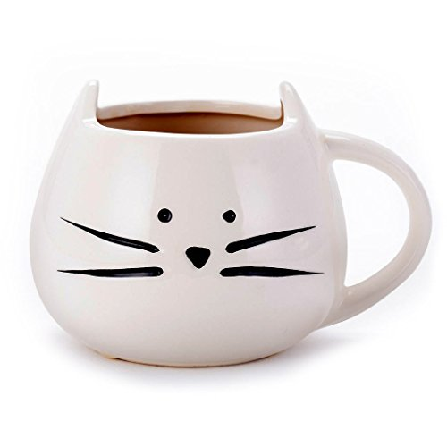 Asmwo Funny Ceramic White Cat Shaped Coffee Mug for Cat Lover Gift 12 oz