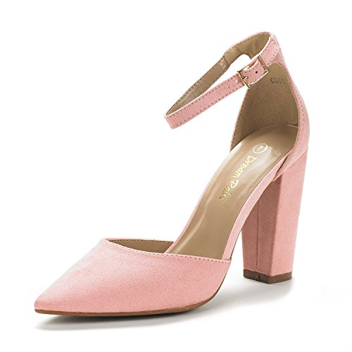 DREAM PAIRS Women's Coco Pink Suede Mid Heel Pump Shoes - 8 M US