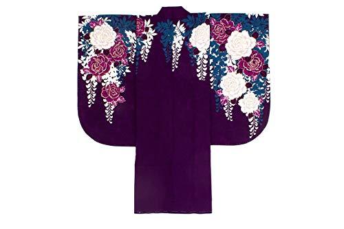 袴用二尺袖着物 CECIL McBEE(セシルマクビー) 紫 パープル 白 薔薇 藤 花 重衿付き 絵羽柄 小振袖 卒業式 謝恩会 女性 日本製