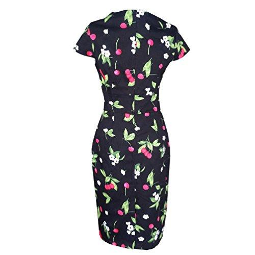Clode® Le Donne di Moda Stampa Floreale Dress Slim (Dimensioni: M, Nero)