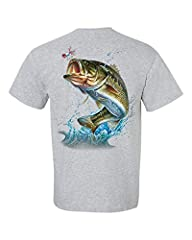 Fishing Action Bass Adult Unisex Short Sleeve Shirt. Features bold colorful graphics on the back of the tee. Long-lasting and comfortable. Wonderful gift for a fisherman or women. T-shirts are quality cotton, extremely comfy to wear, and are ...