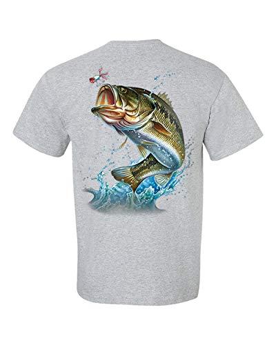 Fishing Action Bass Adult Short Sleeve T-Shirt-Sports Gray-5XL
