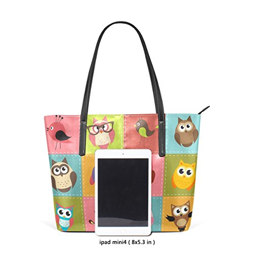COOSUN Patchwork Hintergrund mit Eulen PU Leder Schultertasche Handtasche und Handtaschen Tasche für Frauen