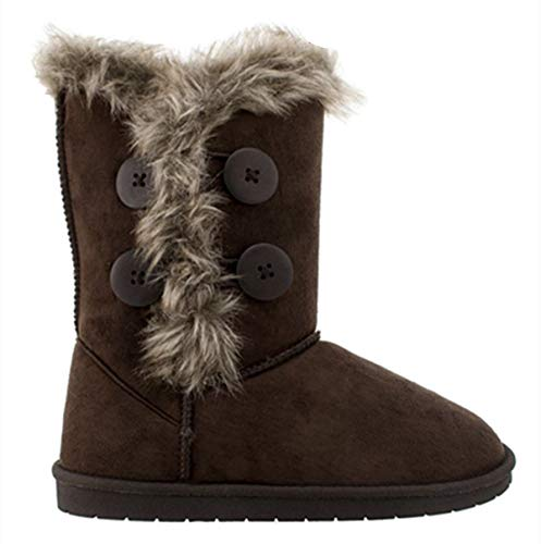 Women's Fur Mid-Calf 4 Buttons Faux Soft Snow Winter Flat Boot Shoes New 02 (8.5 B(M) US, Brown-18)