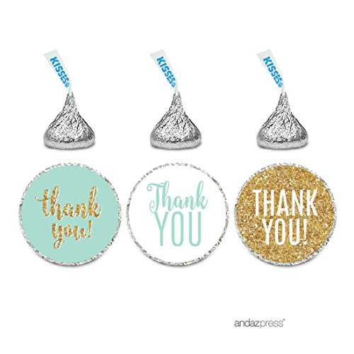 Andaz Press Signature Light Aqua, White, Gold Glittering Party Collection, Chocolate Drop Labels Stickers, Fits Hershey's Kisses, Thank You, 216-Pack