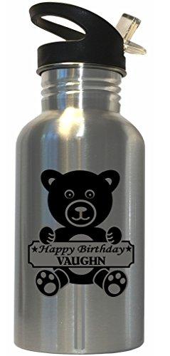 Happy Birthday Vaughn Stainless Steel Water Bottle Straw Top