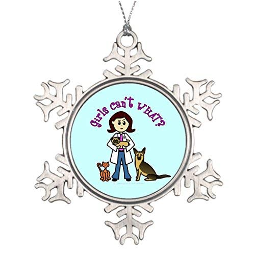 (Hipporal Personalised Christmas Tree Decoration Girl Light Veterinarian Girl Snowflake Ornaments For Christmas)