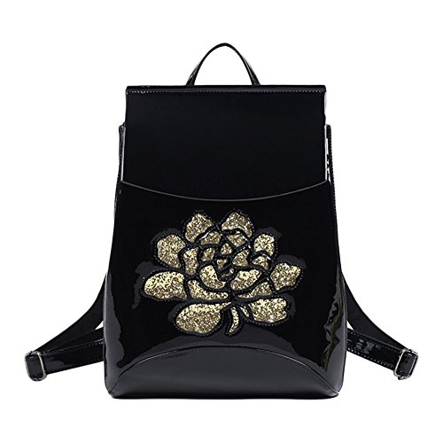 [Moonwind Sequined Rose Patent Leather Backpacks for Womens Travel Backpack Purse (9-004# Convertible Backpack, Black)] (Patent Leather Backpack)