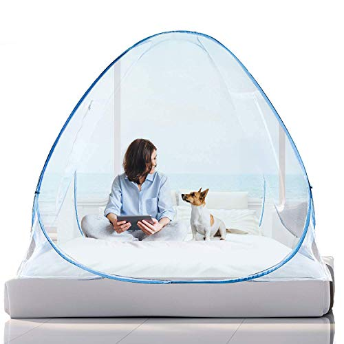 OLLREAR Pop Up Mosquito Net for Home & Travel Camping Tent Stand Up Canopy Large Bug Net for King Bed Netting with Floor Bottom