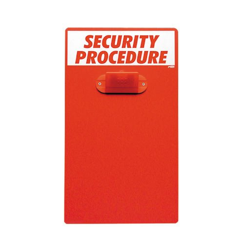 Brady CB322E Polyester ''SECURITY PROCEDURE'' Clipboard, 17'' Height x 9.5'' Width, White/Red