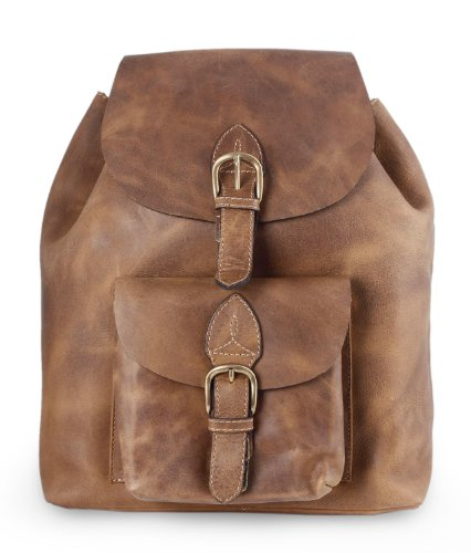 NOVICA Brown Leather Travel Backpack,