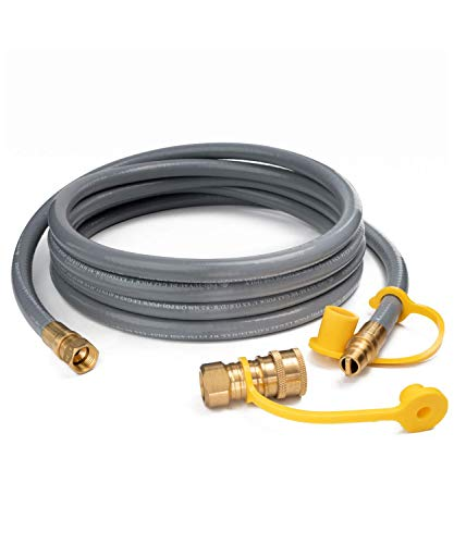 GASPRO 12FT Natural Gas Hose,3/8 Inch Propane/Natural Gas Quick Disconnect Kit for Low Pressure Appliance,CSA