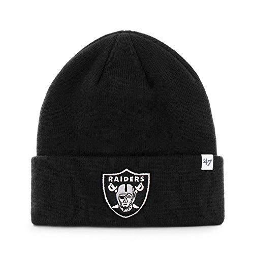 47 Brand Oakland Raiders Black Basic Raised Cuffed Sport Field Winter  Stocking Beanie NFL 660f5d4a9