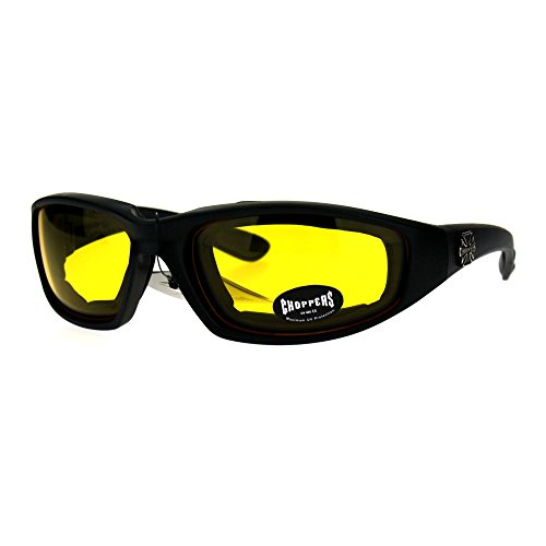 Choppers Foam Padded Biker Wind Breaker Motorcycle Riding Sunglasses Night Driving Yellow - Wind Sunglasses