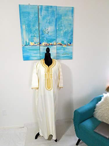 [해외]모로코 남성 의류 핸드메이드 캐 탄 간다 우 트 트 레드 자 수 원 사이즈 (오프 화이트 / Moroccan Men Clothing handmade Caftan Gandoura With Tread Embroidery One Size (Off-White