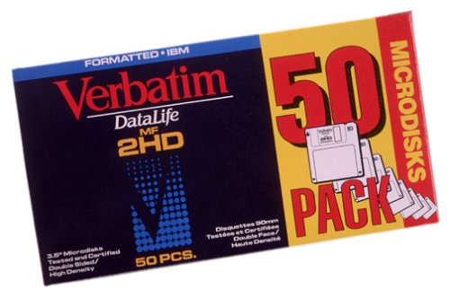 Verbatim 3.5'' 1.44MB Preformatted High Density IBM Datalife Disk (Grey) (50-Pack) (Discontinued by Manufacturer) by Verbatim