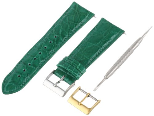 Artisan of Italy CITQR100-2122LR Women's Fashion Quick-Release Padded Crocodile 22mm Emerald Watch (Emerald Mens Watch)